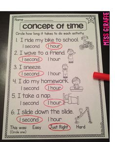 Concept of time is important to tear - brainstorming how long activities take in units of time