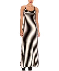 This Taupe & Black Stripe Maxi Dress by Cecico is perfect! #zulilyfinds