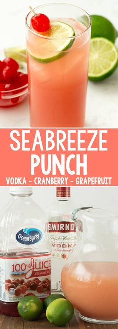 Seabreeze Cocktail Punch Seabreeze Cocktail Punch – this easy cocktail recipe has just three ingredients: vodka, grapefruit, and cranberry juice. It's the perfect summer punch recipe and leaves you feeling refreshed. – Cocktails and Pretty Drinks Alcoholic Drinks Vodka, Alcoholic Punch Recipes, Party Drinks Alcohol, Alcohol Drink Recipes, Fruit Drinks, Alcohol Punch, Vodka Punch, Punch Punch, Vodka Tonic