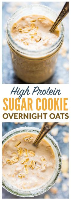 Sugar Cookie Overnight Protein Oatmeal PACKED with 26 grams of protein and tastes like cookies This high protein breakfast will keep you full all morning Recipe at wellp. High Protein Breakfast, Breakfast Cookies, Best Breakfast, Breakfast Recipes, Breakfast Crockpot, Overnight Breakfast, Breakfast Ideas, Breakfast Healthy, Dinner Healthy