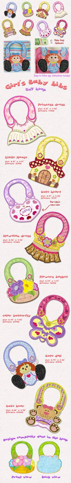 These bibs are absolutely beautiful. Using your imagination, change thread, snap colors and fabrics to make unique pieces. You will always have people asking where you found them!  applique instructions are included and will guide you step by step to successfully complete the bibs. Snaps and  Fabric Available here!