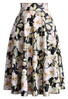 Camellia Print Faux Leather Midi Skirt - New Arrivals - Retro, Indie and Unique Fashion