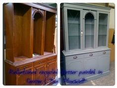 Glazed wooden dresser painted in Farrow & Ball 'plummett' & distressed finish.