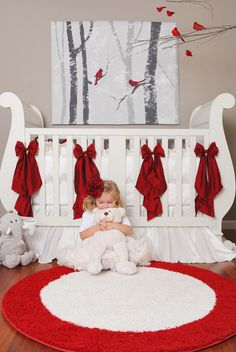 Love this red & white nursery design - such a refreshing color palette! Just sayin', if I ever had a winter-time baby or named her Scarlett. Red Nursery, Nursery Themes, Nursery Room, Girl Nursery, Girl Room, Nursery Decor, Nursery Ideas, Everything Baby, Nursery Inspiration