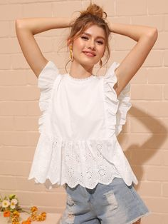 Check out this Eyelet Embroidered Ruffle Cuff Blouse on Shein and explore more to meet your fashion needs! White Shirts Women, Blouses For Women, Women's Blouses, Casual Tops For Ladies, Dressy Tops, Holiday Outfits Women, Looks Plus Size, Collar Top, Lace Collar
