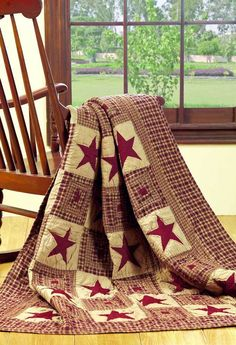 Patchwork Quilted Throw Vintage Star Wine Red Tan Country Quilt FREE SHIPPING #MarketStreet #Country