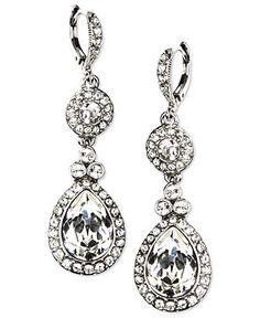 Givenchy Earrings, Silver-Tone Swarovski Element Double Drop Earrings - Fashion Earrings - Jewelry & Watches - Macy's
