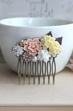 Flower Collage Hair Comb. Blush Pink, White, Ivory, Brown Flowers. Bridesmaids Gifts. Rustic Pink Country Wedding By Marolsha.