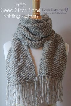 This is a free knitting pattern for an elegant seed stitch scarf. Perfect for men, women, and kids! #knitting #pattern #free