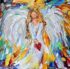 Original oil painting Angel of my Heart palette by Karensfineart