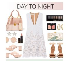 #daytoevening by hellodollface on Polyvore featuring STELLA McCARTNEY, Givenchy, Mansur Gavriel, Miu Miu, Edie Parker, Jennifer Meyer Jewelry, Linda Farrow, Forever 21, NARS Cosmetics and Lipstick Queen