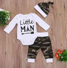 Little Man 3 Pc Camo Baby Boys Set - Boys Baby Camo Set - Shower Gift - Coming Home Outfit - Boys Camo Shirt Pants