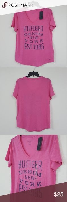 """Tommy Hilfiger NWT Sz M Shirt Tommy Hilfiger Women's Relaxed Fit T-shirt   - Brand new with tags  - Pink/Blue - Relaxed fit - Size M  Measurements (inches):  Chest - 36"""" Pit to pit - 18"""" Shoulder to shoulder - 15.5"""" Back length - 24""""  Thank you Tommy Hilfiger Tops"""