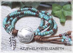 Beaded Wrap Bracelet/ Native American Wrap Bracelet/ Seed Bead