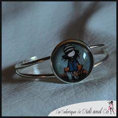 Bracelet métal avec illustration univers petite fille : Bracelet par fabriquedidiandco