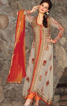 Attractive Off White Designer Churidar Kameez Set (VIVJIL6528) - OnlineDesignerStore.com
