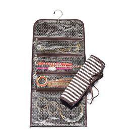 brown & white stripe jewelry roll - travel accessories - designer travel gear Henri  Bendel