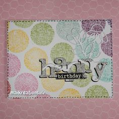 A more graphic than cute card for a change. Those Waffle Flower stamps are really very versatile ;o) If you'd like to see more pictures of this card, read how I made it or find a list of supplies, just hop on over to my blog: www.maikreations.de