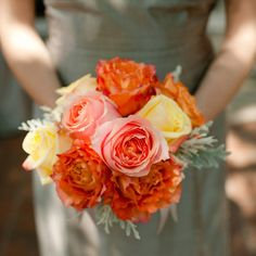 Bridesmaid bouquets of yellow, orange and pink varied roses | Spindle Photography | Lagniappe Designs