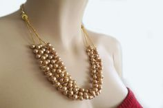 Champagne Pearl Wedding Jewelry Necklace by PearlJewelryNecklace, $42.00