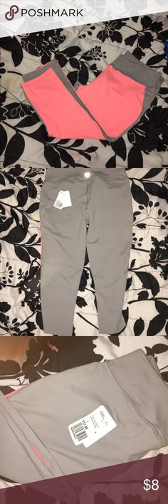 Pink and grey workout pants/leggings BRAND NEW Brand new, with tags athletic leggings/pants. Pink/salmon color and grey. From Forever 21. Large size. Forever 21 Pants Leggings