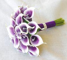 Silk Flower Wedding Bouquet  Purple Heart Calla Lilies by Wedideas, $138.00
