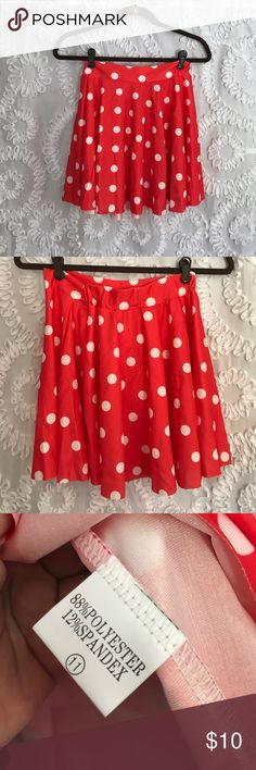 Polka Dot Skater Skirt Red with white polka dots. Skater skirt. One size, but will fit XS/S. Perfect for spring and summer! Not actually Disney, just listed as so for exposure. I wore this as a Minnie Mouse skirt on Halloween!  Disney Skirts Circle & Skater