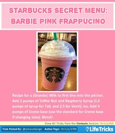 Starbucks Secret Menu: Barbie Pink Frappuccino