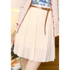 Preppy Solid Color High-Waisted Pleated Skirt