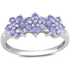 Miadora 10k Gold Purple Tanzanite and Diamond Flower Ring ($211) ❤ liked on Polyvore