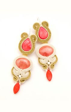 Statement earrings coral and gold soutache. Extra large by MANJApl