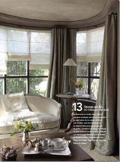 Gray silk taffeta with sheer shades - pure French elegance.  Curtains in Cote De Texas Blog Aug 2009  http://cotedetexas.blogspot.com/2009/08/top-ten-design-elements-4.html