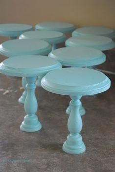 DIY mini cake stands - wood craft circles plus wood candlesticks