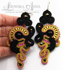 423 Kolczyki sutasz Soutache Earrings, Crochet Earrings, Jewellery Earrings, Swarovski, Unique, Fashion, Moda, Fashion Styles, Fasion