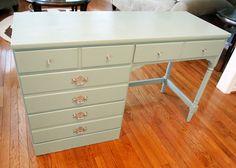 Vintage Baumritter Ethan Allen Desk Redone In Annie Sloan Duck Egg Blue Chalk Paint Gloss