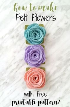 to Make Felt Flowers - with free printable pattern An easy felt flower tutorial that can be used for making headbands, magnets, wreaths and more!An easy felt flower tutorial that can be used for making headbands, magnets, wreaths and more! Handmade Flowers, Diy Flowers, Paper Flowers, Flowers Today, Diy Wool Felt Flowers, Felt Flower Diy, Paper Butterflies, Crochet Flowers, Felt Flower Pillow