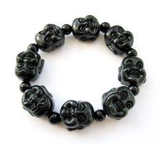 Black Green Jade Smile Buddha Beads Bracelet Tibetan Buddhist Ovalbuy. $10.99. Buddha Beads. Free Jewelry Pouch. Beads Size: 20mm. Material: Black Green Jade