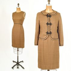 60's Vintage Brown Two Piece Dress Jacket Set