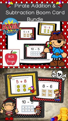My Pirate Addition and Subtraction Digital Task Card Bundle includes 80 task cards which are accessed via Boom Learning. Each digital task cards focuses basic addition and subtraction facts 0-20. All task cards are accented with bright colors and pirate themed graphics. #teacherspayteachers #tpt #boomcards #boomlearning #addition #subtraction M Learning, 2nd Grade Classroom, Teacher Resources, Teaching Ideas, Pirate Theme, Addition And Subtraction, My Teacher, New Pins, Task Cards