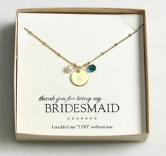 "Gold with Emerald Crystal and Pearl Necklace / ""thank you for being my bridesmaid"" gift #BridesmaidGift #weddingoutlet #BridesmaidJewelry"