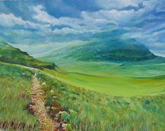 original oil painting Ireland Scotland English landscape THE TRAIL Green Grass, Ireland, Trail, English, Sky, Watercolor, Landscape, The Originals, Canvas
