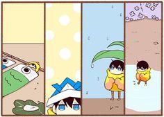 The adventures of Harutobi during may and june ...  Free! - Iwatobi Swim Club, free!, iwatobi, mascot, iwatobi mascot, harutobi