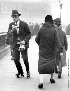 The 1926 General Strike-A commuter rollerskates to work, complete with lunch, in an effort to beat the General Strike.