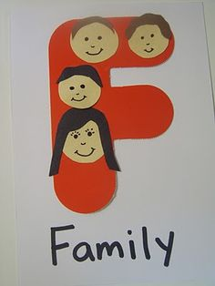 F is for family  Make different coloured 'F' art with photos from different eras of students families. A great community activity at school that is an opportunity for parents and grandparents to join the class and share about their family's history.