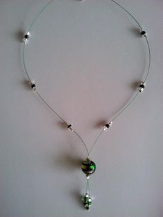 Green glass wire necklace