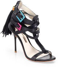 1b3a47d8d515 Sophia Webster - Black Cassidy Leather Tassel Sandals - Lyst