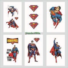 1-100 Super Heroes Superman Temporary Tattoos Kids Party Favors Bag Stickers  #Tattoos