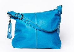 Hand Bag Classic full grain leather/ extra large size/ turquoise # 49