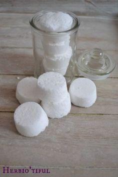 Recette maison de pastilles désinfectantes pour les toilettes, pastilles effervescentes pour nettoyer les WC. Recette Diy de produits d'entretien.