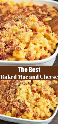 Baked Mac and Cheese is perfectly cheesy, creamy, and gooey topped with bacon crumb topping. A great combination of cheeses makes the best creamy texture. #pasta #macandcheese #bacon #easydinner #easyrecipes